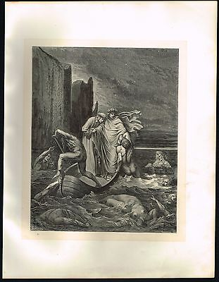 1860's Big ANTIQUE Vintage Hell Souls Styx Gustave Dore Art Engraving PRINT