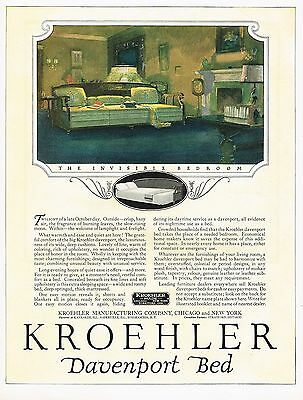 1920s BIG Old Vintage Kroehler Furniture Davenport Bed Art Print Ad