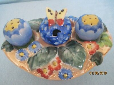 RARE Antique Lusterware Garden Condiment Set Japan