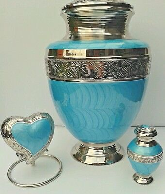 TOP QUALITY BRASS ! Set of 3 ! Adult + Keepsake Cremation Urns for Ashes in Aqua