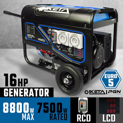 Petrol Generator 8000W Max Electric Start Work Site Camping Portable Power Suppl