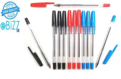 Ballpoint Pack of 12 Biros Pens Black Blue Red Medium