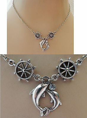 Silver Dolphins Pendant Necklace Jewelry Handmade NEW adjustable Accessories