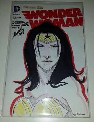 Wonder Woman #36 Sketch Cover Original Art - Signed by David and Meridith Finch