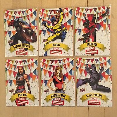 Happy Birthday Insert Set Of 6 Marvel Annual 2017 Upper Deck Black Panther HB-0