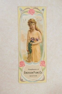 vv122 Vintage Bookmark advertising writing Emerson Piano Co Cable Co Freeport IL