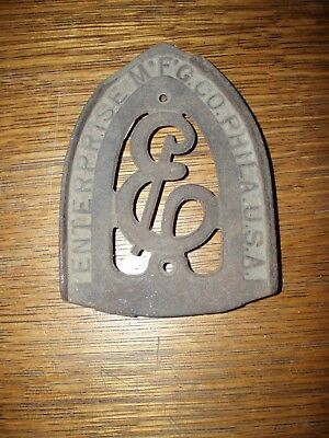 Vintage Cast Iron Enterprise Philadelphia Iron Trivet Holder Footed Stand