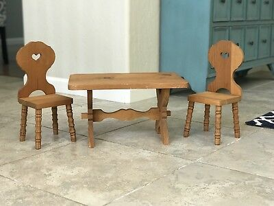 Retired Kirsten American Girl Wooden Trestle Table and 2 Chairs