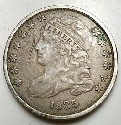 1835 CAPPED BUST DIME-KM 48-90%-FREE USA SHIPPING-10c-TEN CENTS-FINE, DETAILS