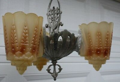 Vintage Art Deco 3 Light Slip Shade Hanging Ceiling Fixture Chandelier