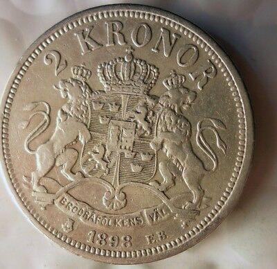 1898 SWEDEN 2 KRONOR - VERY Rare High Value - AU SILVER Coin - Lot #J21
