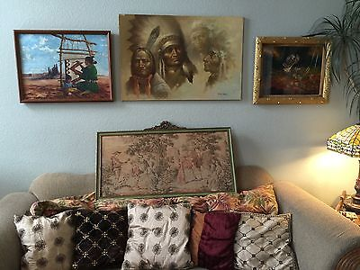Antique French Tapestry With Silk Cord Hanger