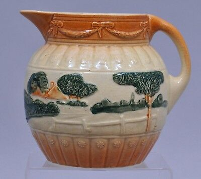 "ANTIQUE pre-1916 ROSEVILLE WATER PITCHER with HOUSE FARM SCENE & FENCE 7"" TALL"