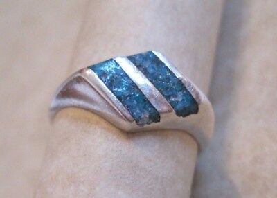 Vintage Inlaid Turquoise Sterling Silver Pinky Ring Art Deco Style Size 4