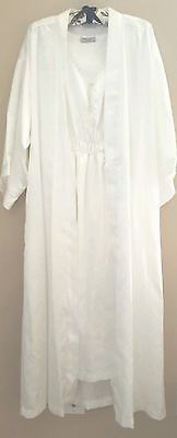 Bert Yelin For Iris Robe Nightgown Set MED White Polyester Satin ILGWU 70's VTG