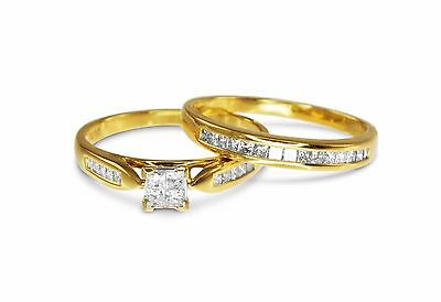 18k Yellow Gold 1.00ct Princess Diamond Engagement/Wedding 2 Ring Bridal Set 262