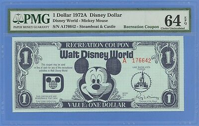 1972A $1.00 Disney Recreation Coupon PMG 64 EPQ Choice Uncirculated 1972A
