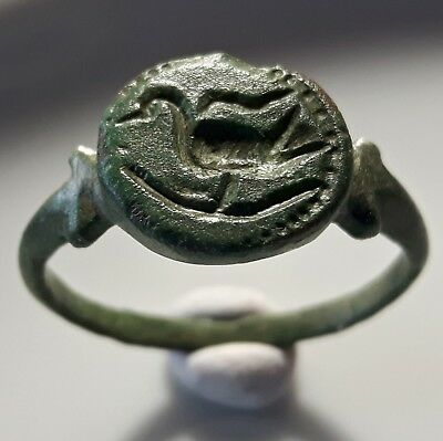 CELTIC Bronze RING ** IBIS BIRD  ** AMAZING RING ** UNIQUE & RARE !!
