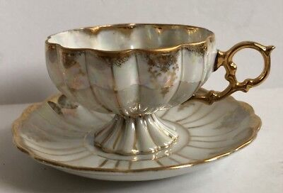 Vintage Royal Sealy China Gold And Cream Lusterware Footed Tea Cup And Saucer