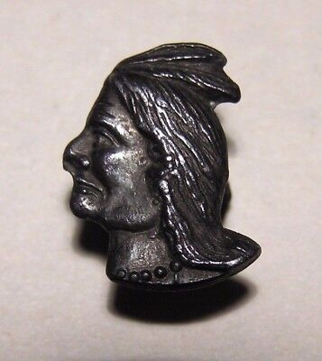 EARLY NATIVE AMERICAN INDIAN PROFILE BUTTON STUD Chief Headdress Antique Pin