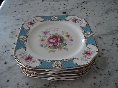 Staffordshire England Myott Square 8)Salad Plates Blue W/pink Roses On The Side