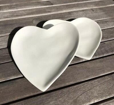 Barbara Eigen Heart Plates 2 Two White Portugal Wedding Valentines Lovers Gift
