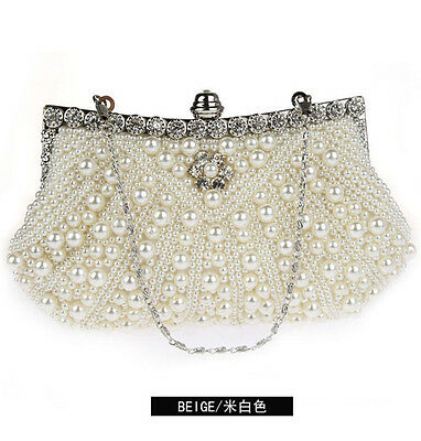 Beige Women Evening Handbag Wedding Bead Clutch Purse Bridal Pearl Bag