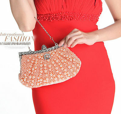 champagne Women Evening Handbag Wedding Bead Clutch Purse Bridal Pearl Bag
