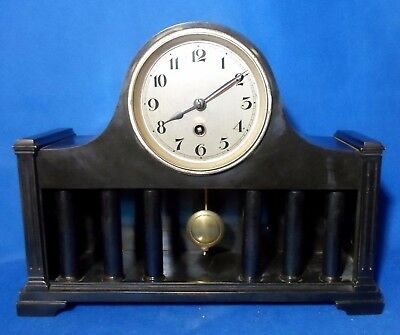 Antique French Empire / Portico Clock - Black Brass, Silvered Dial - Working