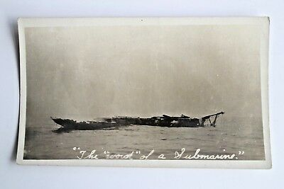 "WWII Vintage  Postcard RPPC The ""Wreck"" of a Submarine Military Old #2725"