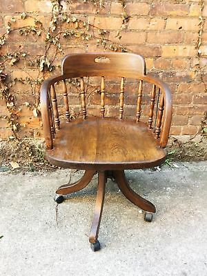 Antique Oak Swivel Office Chair on Castors $285
