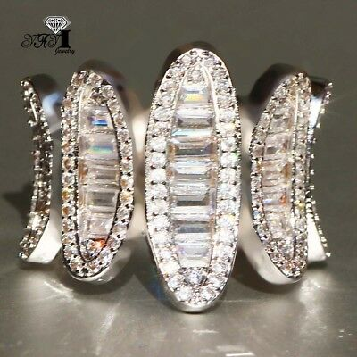 925 Silver Filled White Sapphire Birthstone Wedding Princesses Band Ring Gift