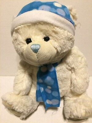 """Dan Dee Collector's Choice White Bear Blue Hat and scarf 13"""" blue nose Rare"""