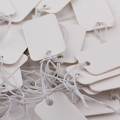 Hot 100Pcs Jewelry Paper Price Tags White Blank Label Chain Tag Cards 25x15mm