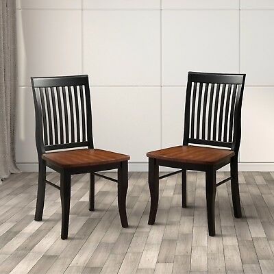 Wood Dining Chairs Slat-back Seat Antique Oak Livingroom Furniture Home 2 pieces