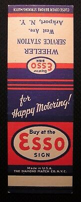Vintage Esso Oil Service Station Matchbook - Unused Salesman Sample - Arkport Ny