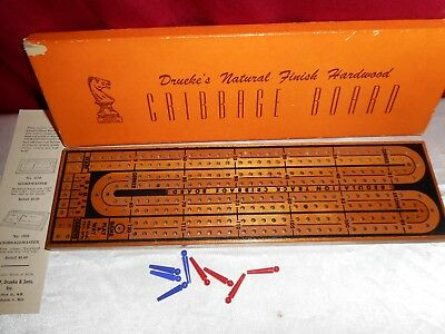 Vintage Drueke's Hardwood Cribbage Board No. 2050 -Original Box W/ Instructions!