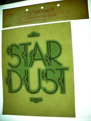Vintage 1970s ROACH Iron-On DECAL Transfer GREEN Glitter STAR DUST nos Deadstock