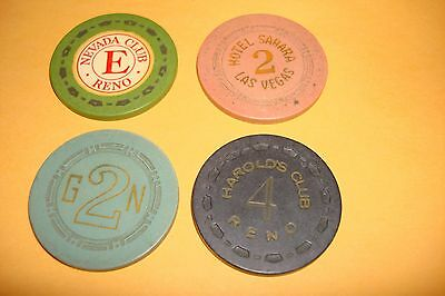 Lot Of 4  Casino Vintage   No Cash Value / Roulette Hotel Casino Gaming Chips