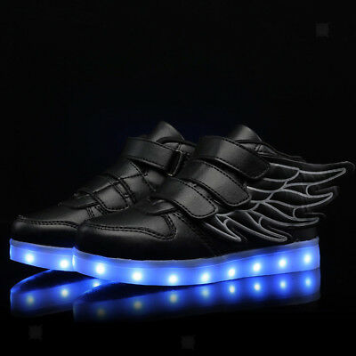 LED Kids Shoes Boy Girl Light Up Sneakers Toddler Luminous Casual Trainers Black