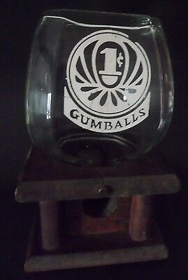 Knock on Wood Corp Vintage Wooden and Glass 1Cent Gumball Machine