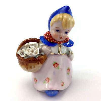 Vintage Dutch Flower Girl Figurine Made In Occupied Japan Hand Painted Porcelain