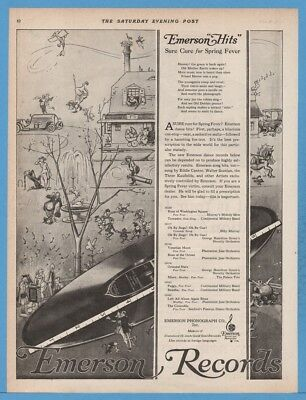 1920 Emerson Phonograph Co Records Spring Fever Cure Hits Fox Trot Art Ad