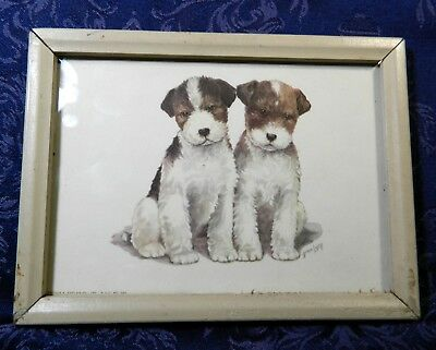 "1950s Jack Russell Puppies, Signed GRACE LOPEZ Print, 5"" X 7"", Framed"
