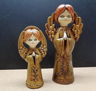 2 Vintage JAPAN Made CHRISTMAS ANGELS  PAPER MACHE DECORATIONS GOLD