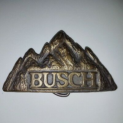 NOS Vintage BUSCH BEER Belt Buckle MBCI Mountain 3D Brewery Brass RARE