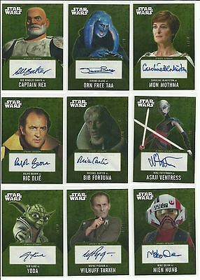 2016 Topps Star Wars Evolution Gold Parallel Autograph Card Serial #ed / 10