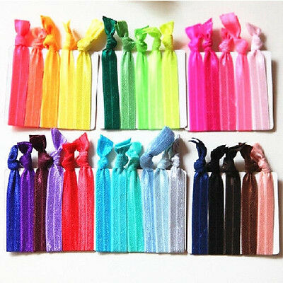 Colorful 30PC Girl Elastic Hair Tie Knotted Hairband Rubber Band Ponytail Holder