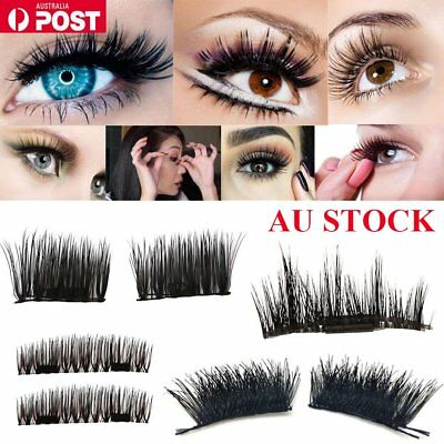 AU 4pcs Magnetic Eyelashes Handmade Reusable False Magnet Eye Lashes Extension O