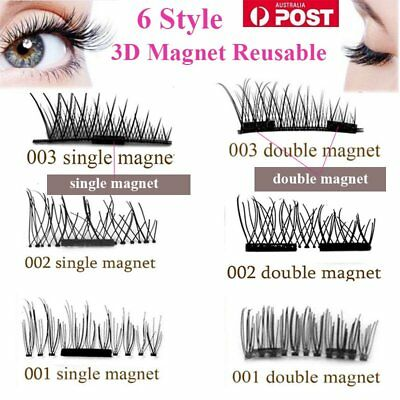 AU 4pcs Magnetic Eyelashes Handmade Reusable False Magnet Eye Lashes Extension W